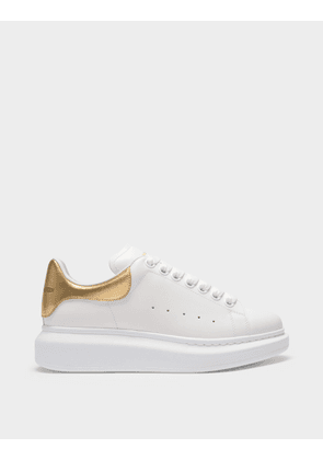 Sneakers Oversize in White Leather and Pale Gold Heel