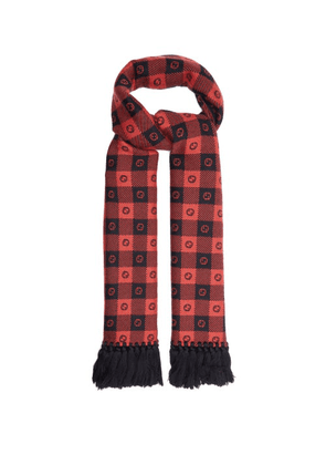 Gucci - GG-jacquard Checked Wool-blend Scarf - Mens - Red Multi