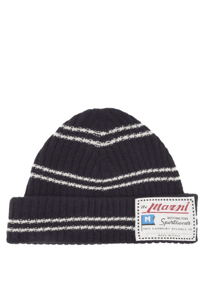 Marni - Logo-label Striped Wool-blend Beanie - Mens - Navy