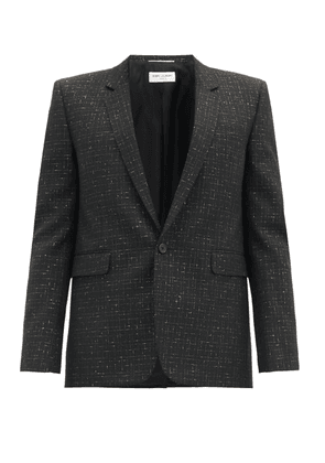 Saint Laurent - Lamé-checked Wool-blend Blazer - Mens - Black Gold