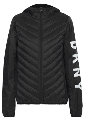 Dkny Fleece-paneled Logo-print Quilted Shell Hooded Jacket Woman Black Size XS