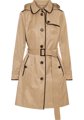 Dkny Faux Leather-trimmed Cotton-blend Twill Hooded Trench Coat Woman Sand Size XS