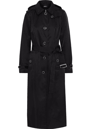 Dkny Belted Shell Hooded Trench Coat Woman Black Size XS
