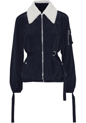 Helmut Lang Shearling-trimmed Strap-detailed Crinkled-shell Jacket Woman Midnight blue Size XS