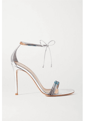 Gianvito Rossi - 105 Crystal-embellished Metallic Leather Sandals - Silver
