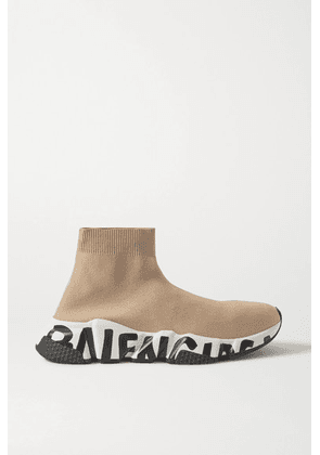 Balenciaga - Speed Logo-print Stretch-knit High-top Sneakers - Beige