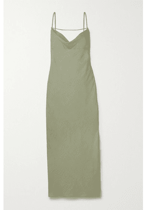 Jacquemus - Adour Draped Hammered-twill Midi Dress - Army green