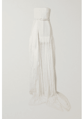 Danielle Frankel - Delphine Strapless Belted Corded Lace Gown - White