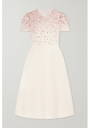 Valentino - Embellished Wool And Silk-blend Crepe Dress - White
