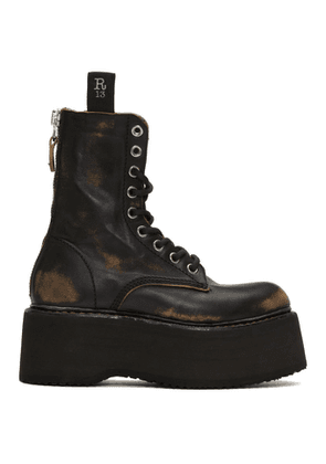 R13 Black Double Stacked Lace-Up Boots