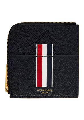 Thom Browne Black Half Zip Around Intarsia Stripe Wallet