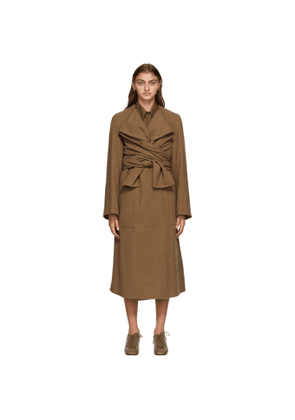 Lemaire Brown Wool Knotted Coat