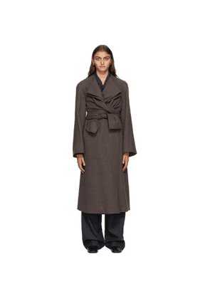 Lemaire Taupe Wool Knotted Coat
