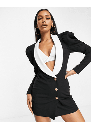 ASOS DESIGN jersey longline blazer with contrast collar and exaggerated sleeve-Black
