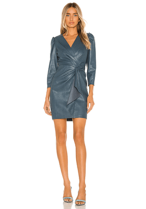Rebecca Taylor Long Sleeve Vegan Leather Dress in Blue. Size 0.