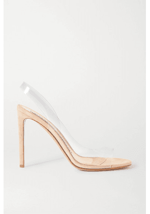 Alexandre Vauthier - Amber Ghost Suede And Pvc Sandals - Neutral