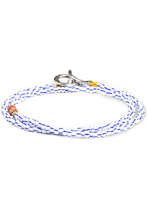 Peyote Bird - Bead, Shell and Sterling Silver Wrap Bracelet - Men - Blue
