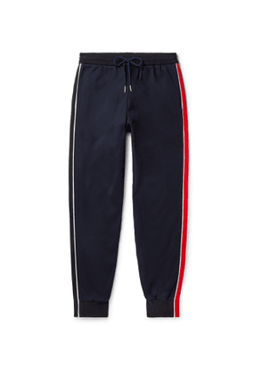 Thom Browne - Tapered Grosgrain-Trimmed Striped Cotton-Jersey Sweatpants - Men - Blue