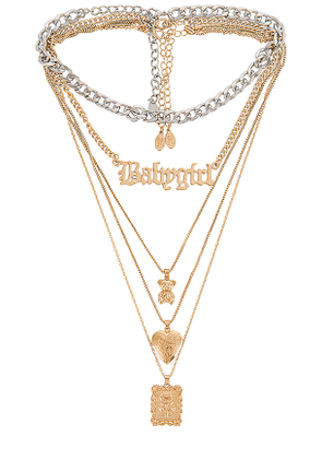 8 Other Reasons Aretha Necklace in Metallic Gold.