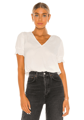 1. STATE Smocked Waist Top in White. Size M,S,XS,XXS.
