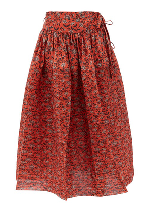 Horror Vacui - Toga Floral-print Cotton Midi Skirt - Womens - Red