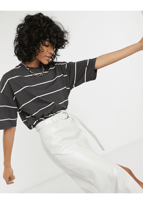 ASOS DESIGN oversized t-shirt with fine stripe in charcoal and white-Grey