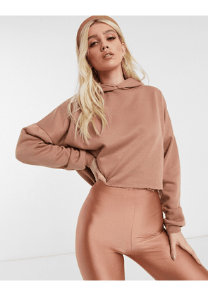 ASOS DESIGN co-ord oversized cropped hoodie in blush-Beige