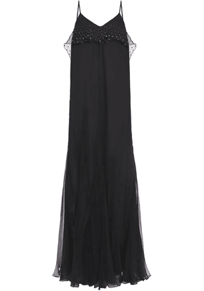 Just Cavalli Crystal-embellished Ruffled Silk-voile Maxi Dress Woman Black Size 44