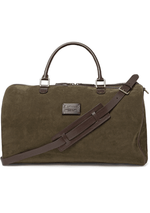 Anderson's - Leather-Trimmed Suede Duffle Bag - Men - Green
