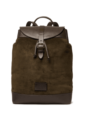 Anderson's - Textured Leather-Trimmed Suede Backpack - Men - Green