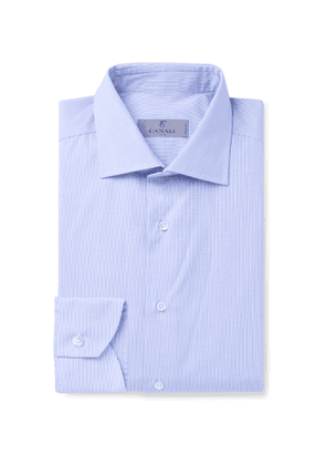 Canali - Slim-Fit Cutaway-Collar Gingham Cotton Shirt - Men - Blue