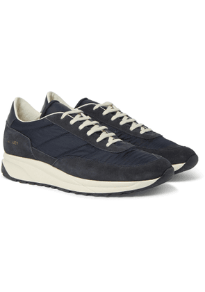 Common Projects - Track Classic Leather-Trimmed Suede and Ripstop Sneakers - Men - Blue
