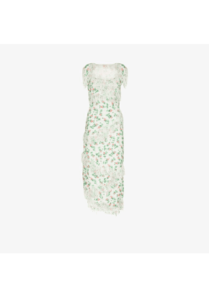 yuhan wang Evelyn rose bud print midi dress