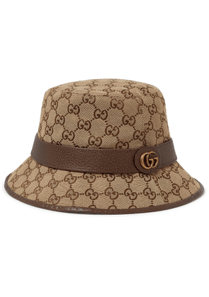 Gucci - Leather-Trimmed Monogrammed Canvas Bucket Hat - Men - Brown