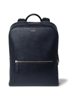 Smythson - Panama Cross-Grain Leather Backpack - Men - Blue