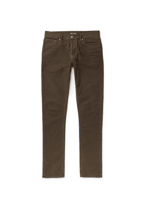 TOM FORD - Slim-Fit Cotton-Blend Moleskin Trousers - Men - Brown