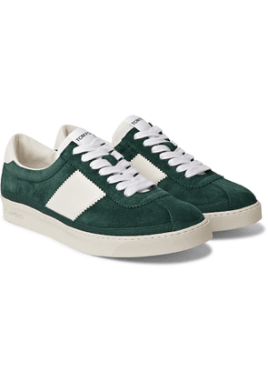 TOM FORD - Bannister Leather-Trimmed Suede Sneakers - Men - Green