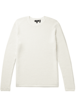 Theory - Phanos Slim-Fit Waffle-Knit Cotton-Blend Sweater - Men - Neutrals