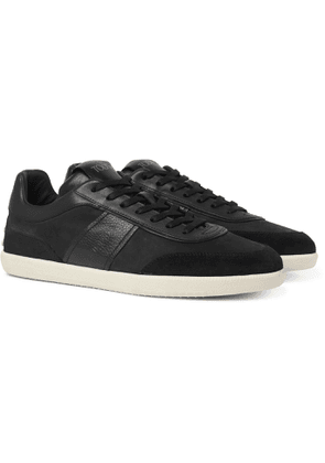 Tod's - Leather and Suede-Trimmed Nubuck Sneakers - Men - Black