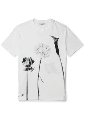 Valentino - Printed Cotton-Jersey T-Shirt - Men - White