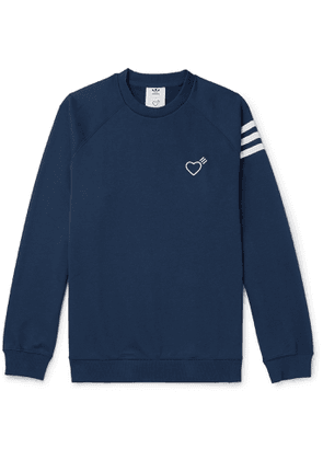 adidas Consortium - Human Made Logo-Embroidered Striped Loopback Cotton-Jersey Sweatshirt - Men - Blue