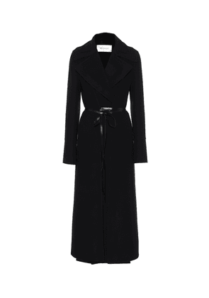 Leather-trimmed wool-double coat