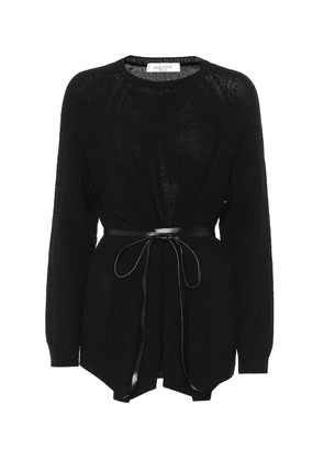 Leather-trimmed wool and cashmere sweater