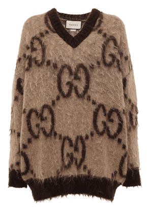 Gg Mohair Blend Knit V Neck Sweater