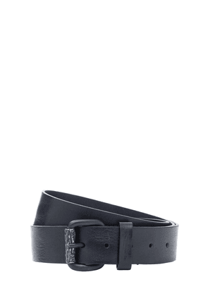 4cm Metal Logo Leather Belt