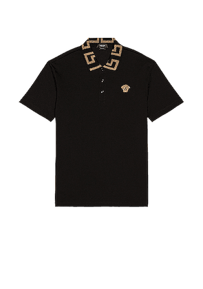 VERSACE Taylor Fit Polo in Black - Black,Metallic Gold. Size S (also in ).