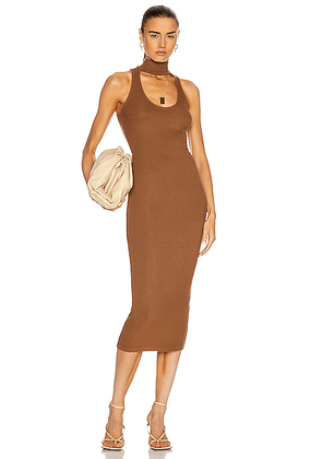 Enza Costa Silk Rib Detached Mockneck Sleeveless Midi Dress in Gold - Neutral,Brown. Size M (also in S,XS).