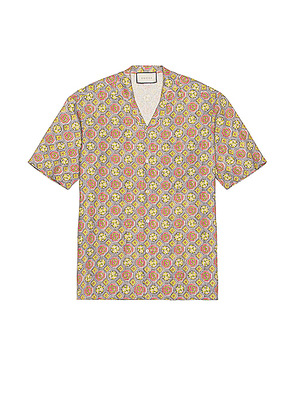 Gucci Short Sleeve Button Down in Cloudy Grey & Red & Mc - Abstract,Gray,Pink. Size 52 (also in ).