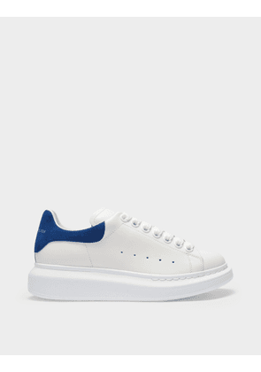 Sneakers Oversize in White Leather and Blue Heel