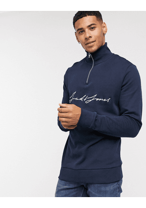 Jack & Jones quarter zip sweat with chest scripted text-Navy
